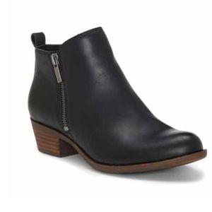 Lucky Brand Leather Zipper Black Booties